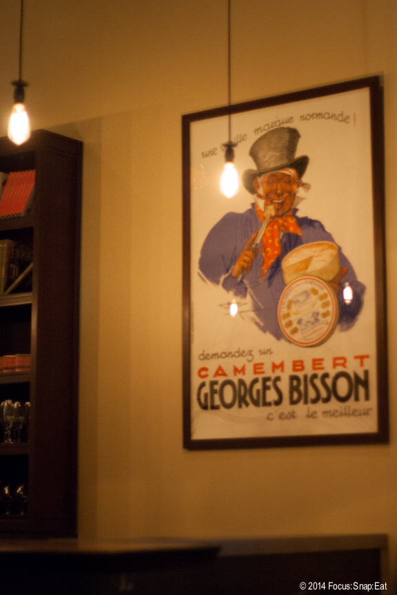 A poster added to the bistro flavor at Urchin Bistrot.