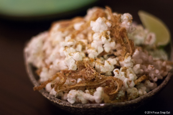 Hurricane popcorn with pig ears ($6) is the only carryover item from the Mission Chinese Food menu. Seasoned with homemade furikake, thin slices of crispy pig ears and lime. (I felt the pig ears were a bit on the salty side.)
