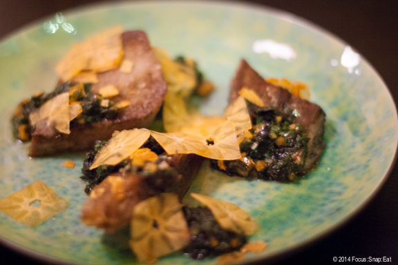 Amazing dish of tender beef tongue ($12) with shaved persimmons and tuskudani herb salsa. Elegant and tasty.