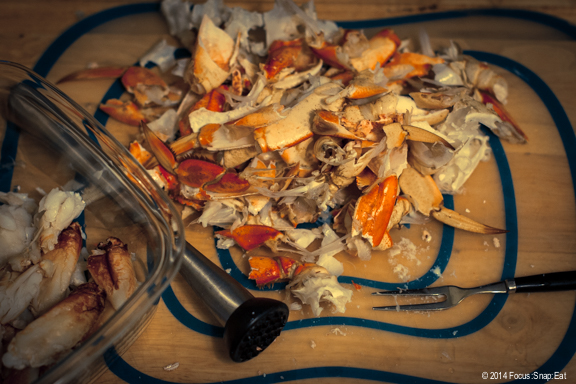 Shell remnants after I cracked through one whole Dungeness crab for the meat.