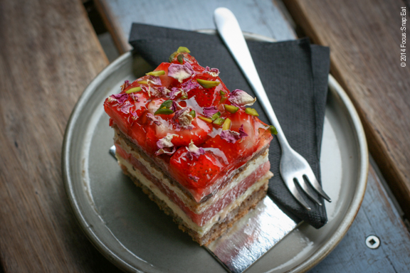I get a lot of help from the chefs who make incredible food, like the pastry chef who made this amazing strawberry-watermelon cake in Sydney, Australia. I liked the wooden crate boxes used as tables while sitting outside. It created a nice contrast to the elegant piece of cake.