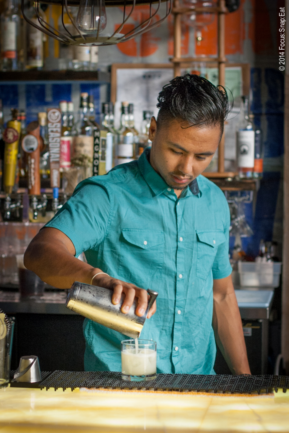 Bartenders really put on a show, so they always make the best models for food photos. This bartender at Mortar & Pestle had a cool eclectic look, which I thought really matched the colorful background of the liquor and bar.