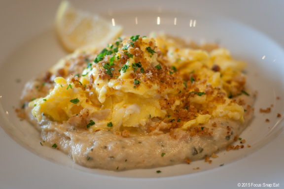 Scrambled eggs with smoked trout and salt code brandade and toasted breadcrumbs ($20)
