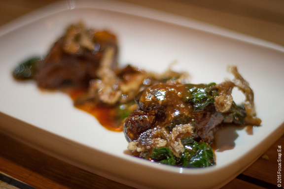 General Tso's Beef Cheeks ($12) with crispy pig ears, oyster mushrooms and kale. The beef cheeks were tender, but the sauce was like a sweet and sour sauce from a Chinese restaurant.