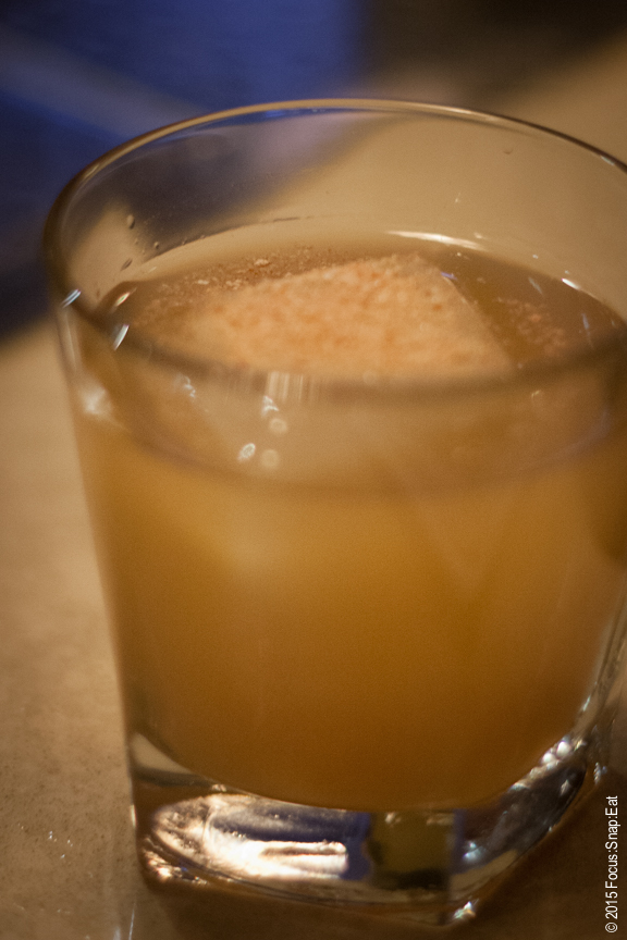Rye Cider made of Sazerac 6-year-old rye and topped with apple dust.