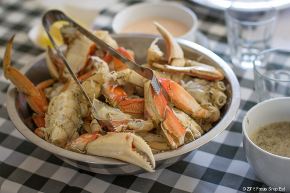 The featured course: Dungeness crab from Bodega Bay.