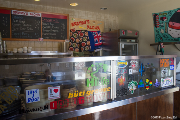 There's nothing fancy about the take-out counter of Sammy's Aloha.