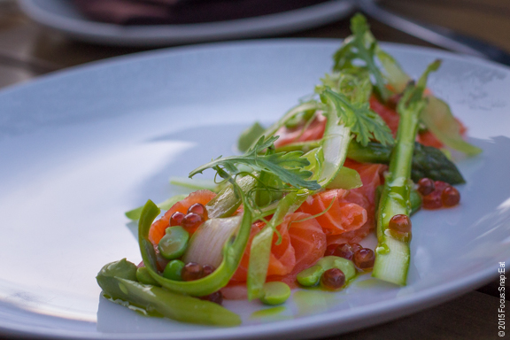 Ocean trout crudo ($16) with compressed asparagus, English pea, snow pea, sugar snap peas, ikura (fish roe) and avocado puree.