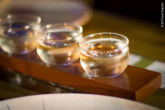 Trio of sake for tasting flight