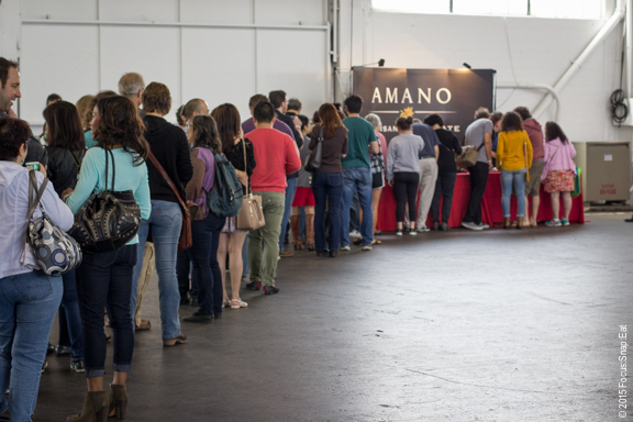 In the afternoon, lines like these were typical as people waited patiently for  a tasting from each vendor.
