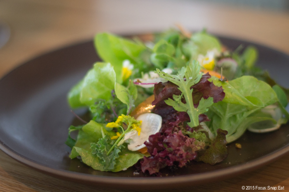 Baby lettuces, herbed avocado, quince crumble ($12)