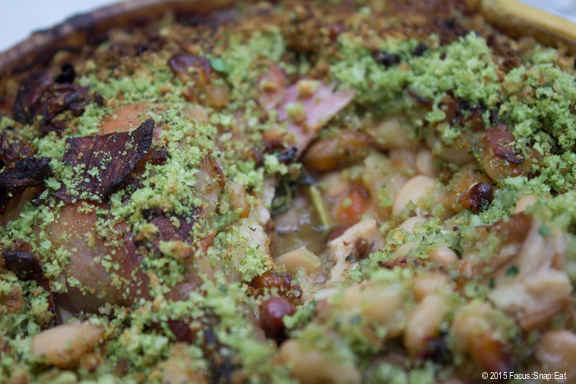 A closer look inside my cassoulet, which had bits of sausage, beans, and parsley bread crumbs