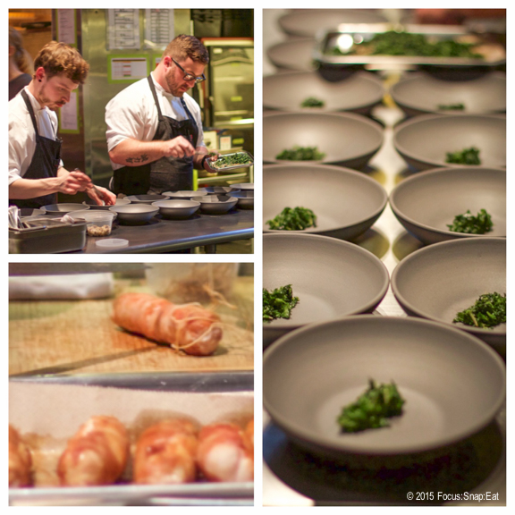 Diners are invited to come up to the open kitchen to watch the chefs put together your dinner. Here they prepare a rabbit dish with stinging nettles.