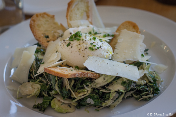 We started with a warm kale and brussels sprouts Caesar with a perfectly poached egg on top, 13