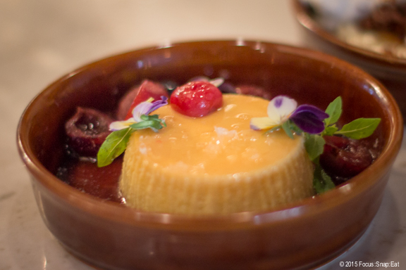 Flan for dessert ($9). The flan itself was ok, but I loved the fruits and candied flowers that garnished the plate.