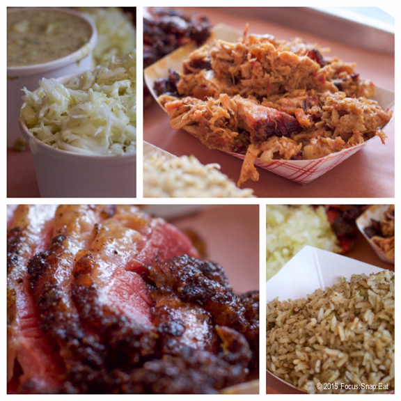 Dining with my niece, we tried the half a pound of chopped pork ($11.40), pastrami ($14), and sides that includes a small cole slaw ($3), large dirty rice ($9) and creamed broccoli and potatoes ($5)