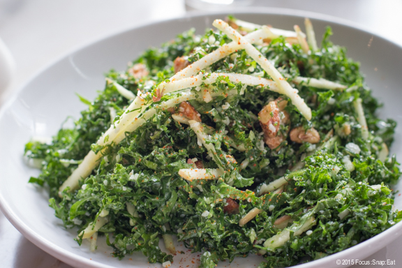 Kale and apple salad with candied almonds, parmesan, and togarashi (Japanese chili powder), $12