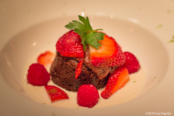 Dessert was a Mexican spiced molten chocolate cake. It wasn't super sweet, and had an appealing mix of spice and hint of horchatta