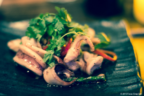 Special yaki ika ($13), which is squid with asparagus with a red jalapeno soy sauce. The squid was cooked tender.