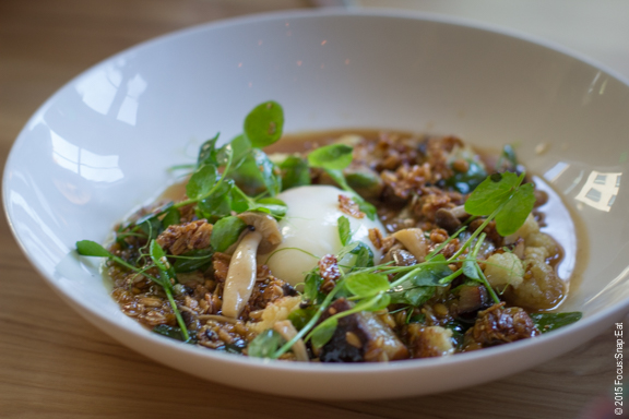 Toasted farro carbonara with 61 degree farmhouse egg, cauliflower, pecora broth, guanciale ($13). I enjoyed it but my family thought it was on the salty side.
