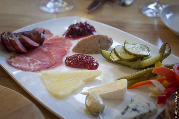 Market Provisions platter is an assortment of cured meats, Fruition Farm cheese, rillette, pickles, jardiniere, mustard, and preserves ($21)