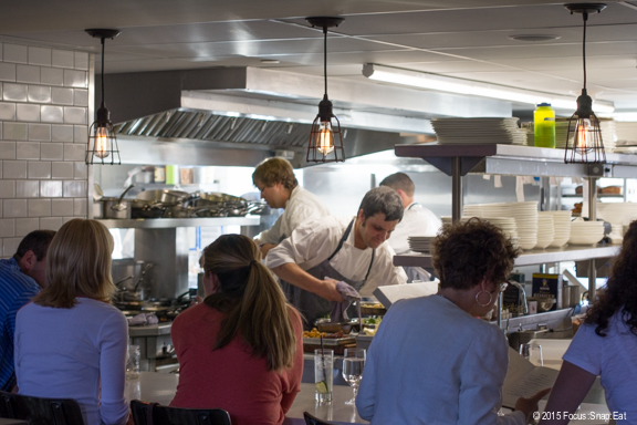 Chefs counter gives you a front-row seat to the action in the kitchen.