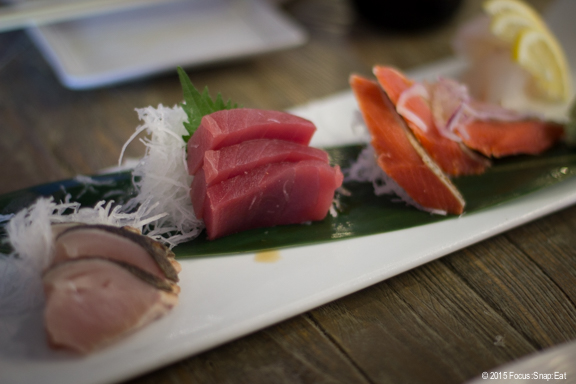 Sashimi special platter with four types of fish selected by the kitchen.
