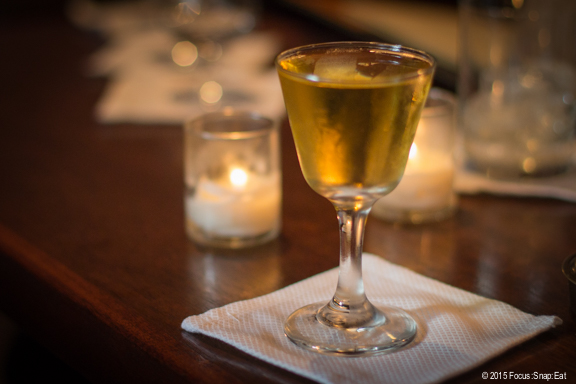 Billy Goat's Gruff ($9) with blended scotch, cocchi Americano, maraschino liqueur, and peach bitters