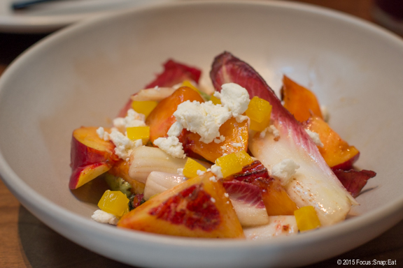 Nectarines with pickled beets at The Advocate