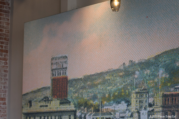 The dining room of The Advocate gives a hint of Berkeley with this large image of what looks like the UC Berkeley campus.