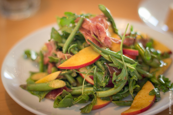 Nectarine salad ($12) with arugula, prosciutto, and string beans.