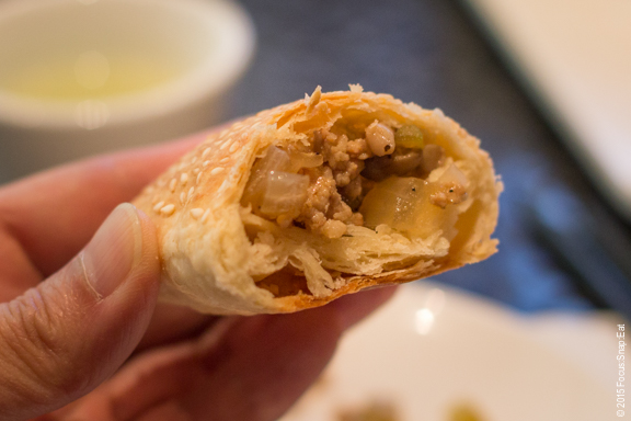 A close-up look of my pork puff after stuffing it with the filling.