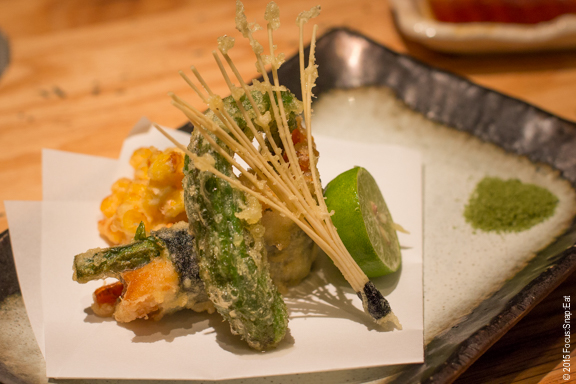 Tempura course in the omakase menu was creatively presented, and served with matcha green tea salt.