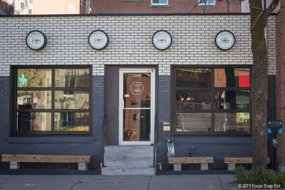 Paquebot Cafe sticks out as a hip spot after walking past blocks of residential homes and repair shops.