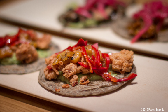 Veal sweetbreads taco were served with pineapples (it had dragon fruit stated on the menu but they were out of dragon fruit).