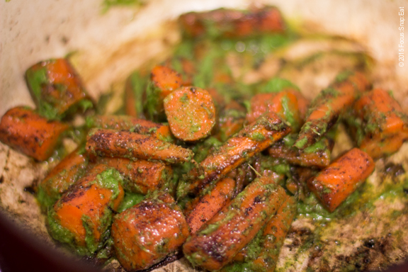 roasted carrots and chimichurri