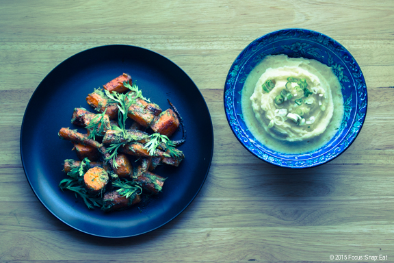 Roasted carrots and mashed potatoes