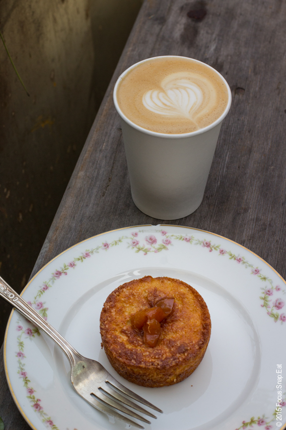 pastry and latte at Grand Fare Market
