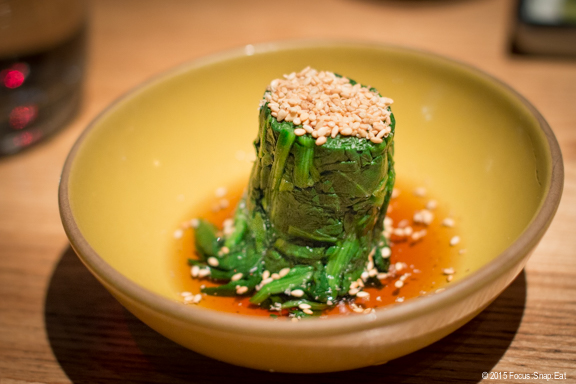 Spinach in sesame soy dashi