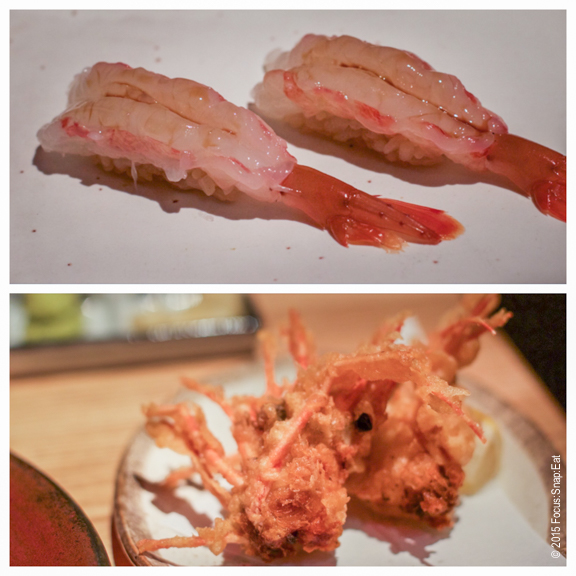 Ama ebi or sweet shrimp nigiri