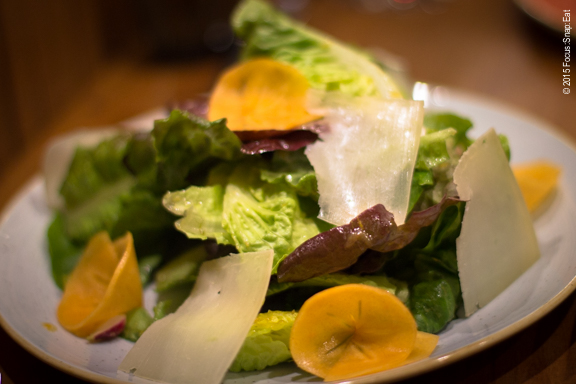 Baby gems salad with persimmons