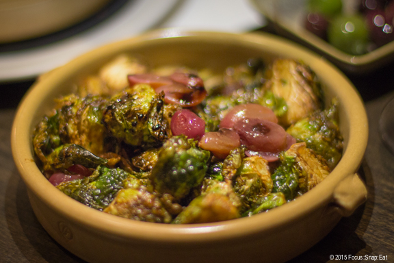 Brussels sprouts with grapes and balsamic ($6). How can you go wrong with Brussel sprouts slightly charred to bring out that caramelization? A nice vegetable dish.