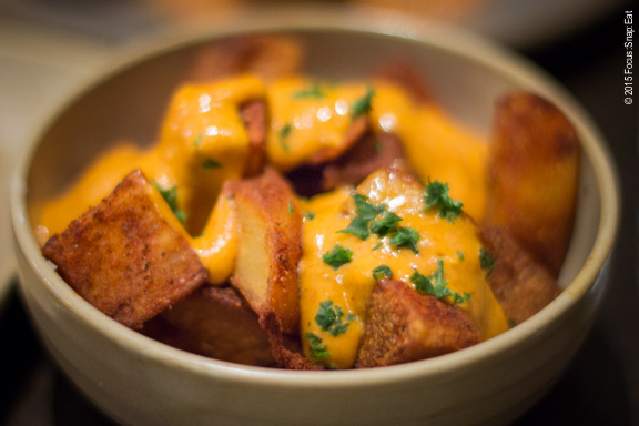 Another classic tapas dish: patatas bravs ($7) or fried potatoes. La Marcha serves their potatoes with a beautiful calabrian fiora sauce. Not sure if the sauce added much to the crispy potatoes, but it made the dish quite pretty.