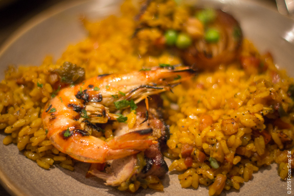 My plate with three types of paella to try.