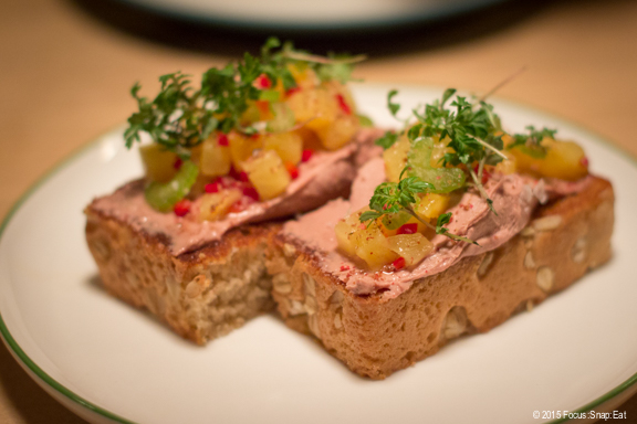Duck liver toast ($9.75) with jalapeno and pickled pineapple. I loved the duck liver spread, and the toast was unusually thick.