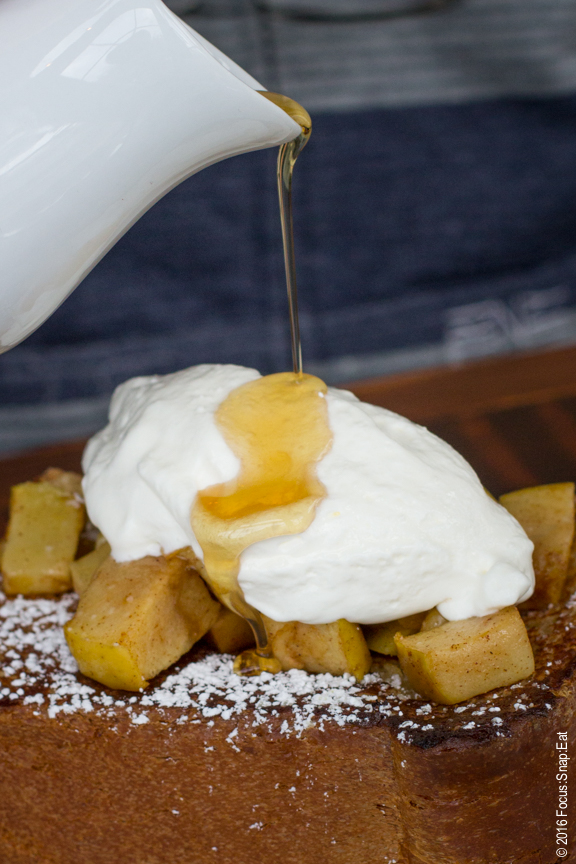 Food porn alert: Craig adds the pure maple syrup to his brioche French toast