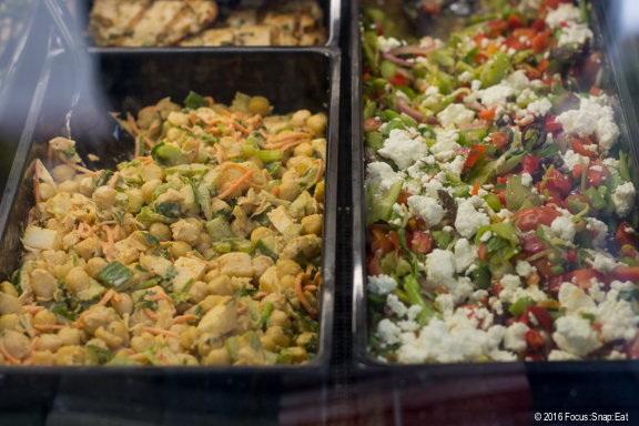 Salads in the deli section.