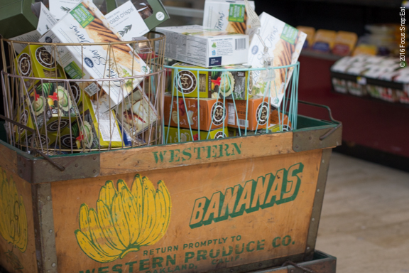 Little touches like retro produce crates add to the charm at Howden Market.