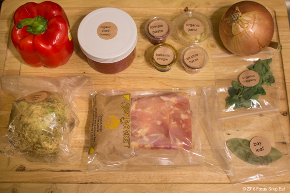 All the ingredients needed for the chicken dish.