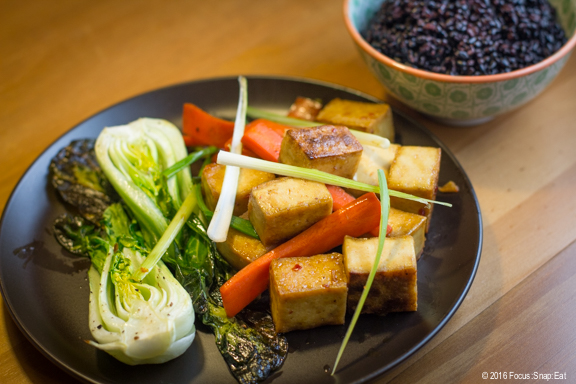 Finished dish of honey-ginger tofu with roasted bok choy and Forbidden rice.